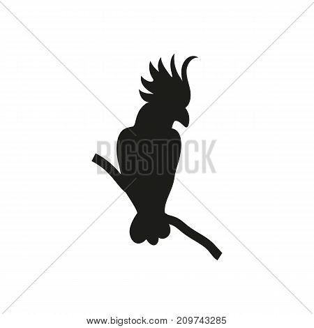 Simple icon of parrot sitting on branch. Cacadu, tropical birds, domestic animals. Pet types concept. Can be used for topics like wildlife, zoo, fauna