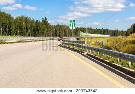 Moscow Russia - August 08 2017: Toll road. Russian highway number M11 in summer day