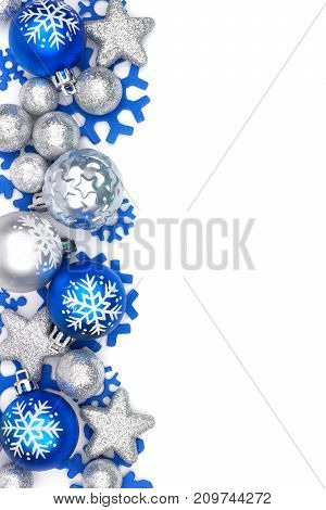 Christmas Border Of Blue And Silver Ornaments Isolated On A White Background