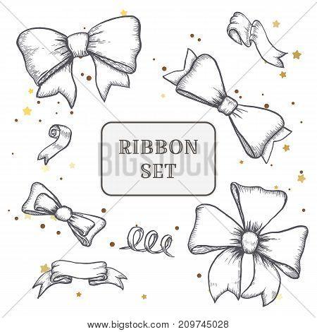set of vintage hand drawn ribbon bows. Vector illustration EPS