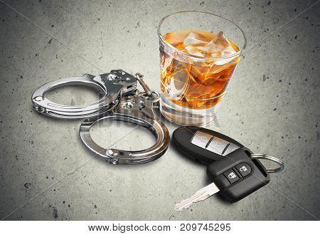 Key car handcuffs whiskey keys bar glass