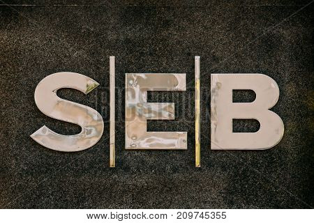 Vilnius, Lithuania - July 7, 2016: Close Title Name Logo Of SEB Bank Is Commercial Bank Of Lithuania, Subsidiary Of Swedish SEB Group.