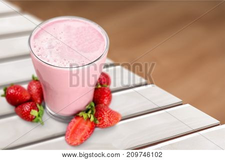 Glass delicious cocktail strawberry natural food eating healthy table