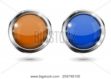 Orange and blue shiny 3d buttons. Round glass web icons with chrome frame. Vector 3d illustration isolated on white background