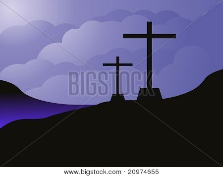 sky background with set of cross, vector illustration