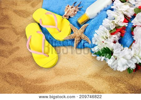 Blue sky seashell flip-flop red background design