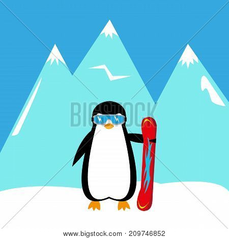 cartoon penguin snowboarder in the mountains illustration