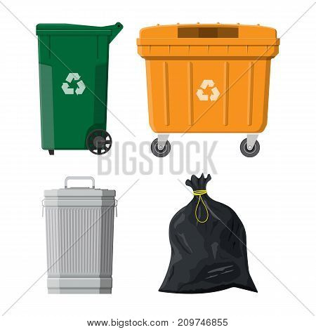 Can container, bag and bucket for garbage. Recycling and utilization equipment. Waste management. Vector illustration in flat style