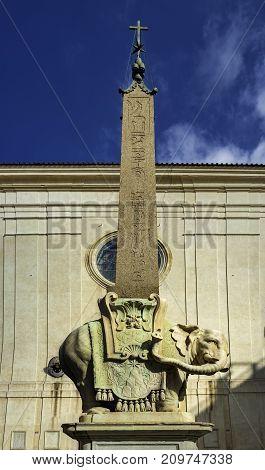 Elephant and egyptian obelisk statue by Bernini in front of Santa Maria sopra Minerva