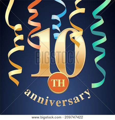 10 years anniversary celebration vector icon logo. Template design element with golden number and spiral garlands for 10th anniversary greeting card