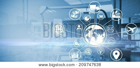 Digital composite image of globe amidst various icons against image of machinery