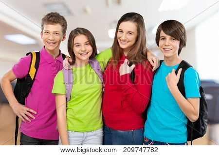 Group happy school students background girl female