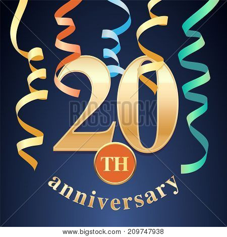 20 years anniversary celebration vector icon logo. Template design element with golden number and spiral garlands for 20th anniversary greeting card