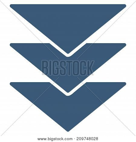 Downloads Direction vector icon. Flat blue symbol. Pictogram is isolated on a white background. Designed for web and software interfaces.
