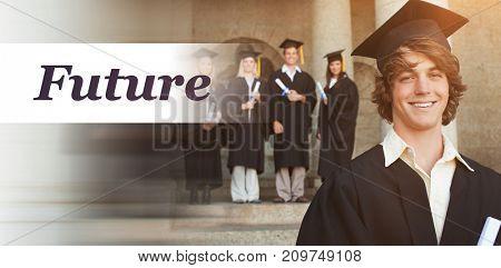 Future text against white background against portrait of smiling graduate
