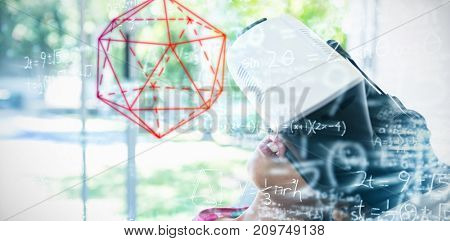 geometry problem against girl wearing virtual reality simulator at home