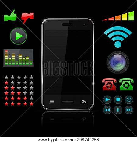 Smartphone with screen symbols. Black vector 3d illustration