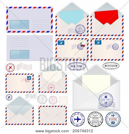 Envelopes set. International mail postmarks. Vector illustration