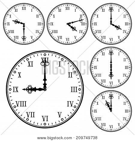 Clock with roman numerals. Collection of different time indication. Vector illustration isolated on white background