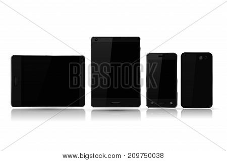 Black smartphones and tablets mock up. Vector 3d illustration isolated on white background