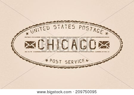 Chicago oval mail postmark. Partially faded on beige background. Vector illustration