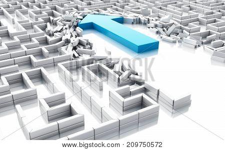 3D Blue Arrow Breaking Down The Walls In The Maze