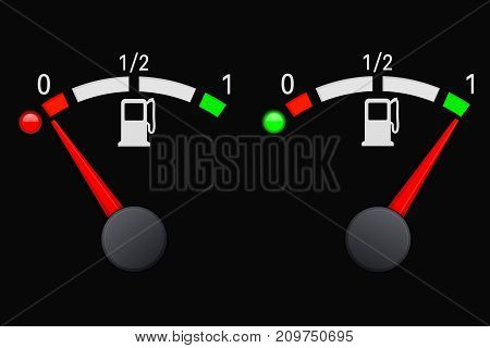 Fuel car gauge scale on black background. Empty and full. Vector illustration
