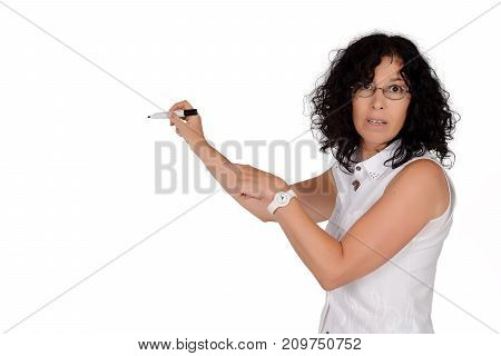Portrait of beautiful school teacher writing with marker. Education concept. Isolated white background.