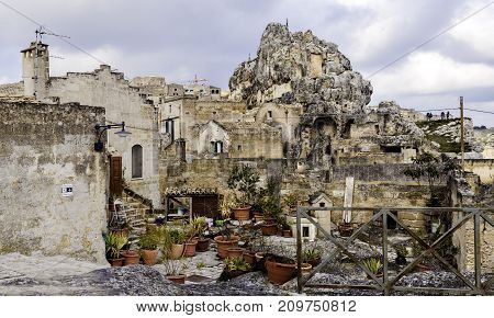 Typical houses of stone (Sassi di Matera) of Matera UNESCO European Capital of Culture 2019 Basilicata Italy
