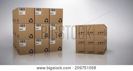 Computer generated image of cardboard boxes against grey background