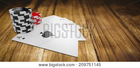 Playing cards with stack of red and black gambling chips against wooden table