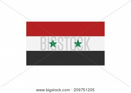Vector illustration of the national flag of Syrian Arab Republic on white background.