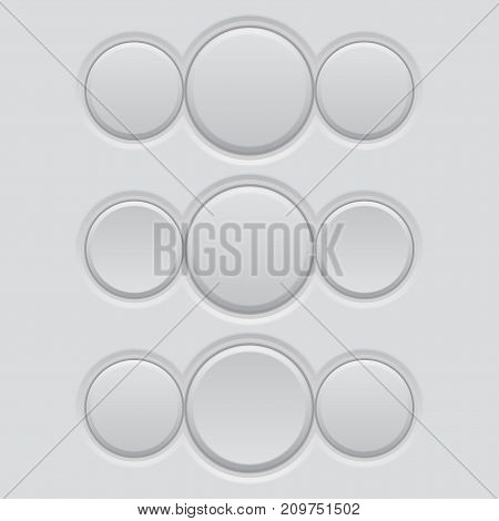 White blank triple buttons. Normal and pushed active. Vector 3d illustration
