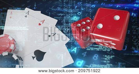 Virus background against playing cards with stack of gambling chips