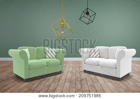 3d image of pendant light against room with wooden floor