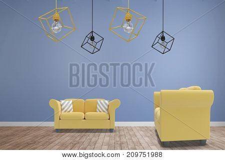 3d image of yellow pendant light against white background against room with wooden floor