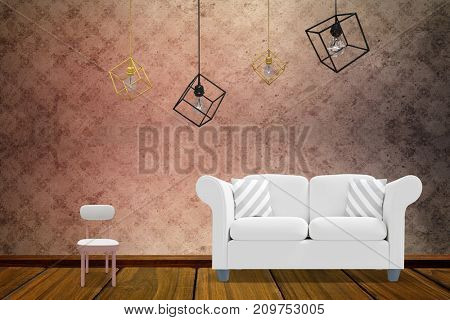 3d image of pendant light over white background against room with wallpaper