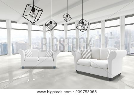3d image of pendant light against white background against windows overlooking city