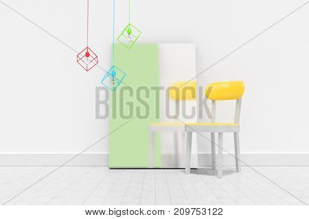 Blank frame and empty chair against wall  against blank whiteboard by empty chair against wall