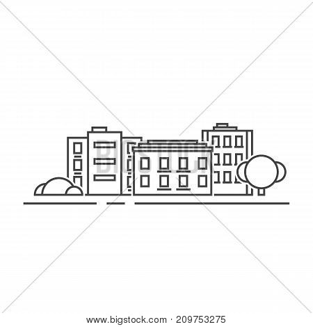 thin line black residential buildings. concept of dwelling label, townhouse panorama, residence, office skyline. flat lineart style trend modern graphic design vector illustration on white background