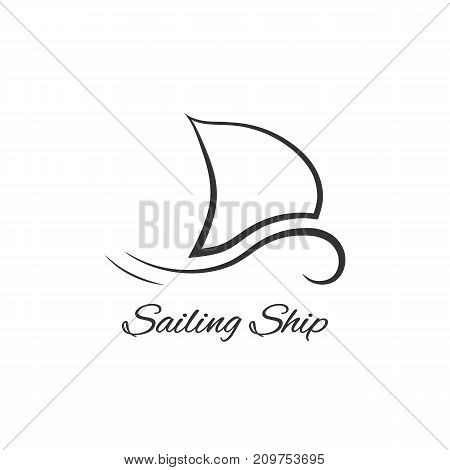 black sailing ship logo. concept of cruiser, hand drawn art, liner, speed, naval, well-being, pleasure boat, race. flat style trend modern brand graphic design vector illustration on white background