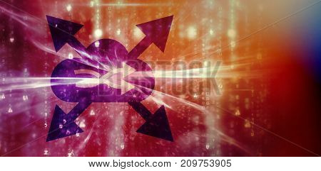 3D illustration of shuffle symbol in cloud with arrows against blue glowing background