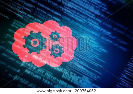3D cogs and wheels in cloud against blue texts