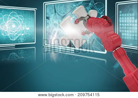 Cropped of 3D red robotic hand holding puzzle piece against composite image of different interface