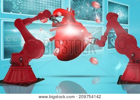 3D red robot arm with claw against composite image of different interface