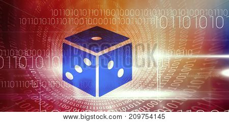 3D dice against spiral of shiny binary code