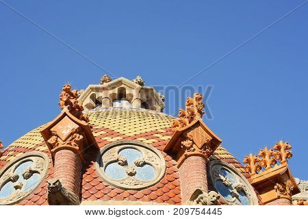 Details on the roof of the Sant Pau hospital in the city of Barcelona Spain.