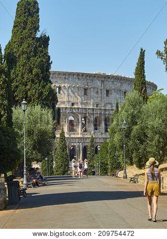 Colle Oppio Park With The Colosseum In Background. Rome, Lazio.