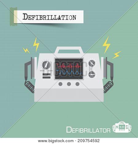 Defibrillator machine . Flat design . Vector .