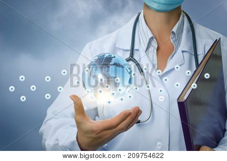 Health Worker In The Hand Shows A Medical Network .